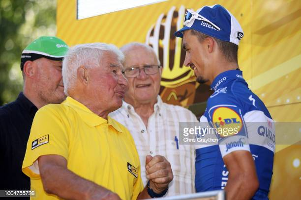 Podium / Raymond Poulidor of France Ex Procyclist / Julian Alaphilippe of France and Team QuickStep Floors Celebration / during the 105th Tour de...