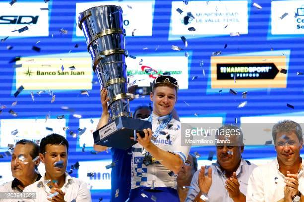 Podium / Remco Evenepoel of Belgium and Deceuninck QuickStep Team White Leader Jersey / Celebration / Trophy / during the 38th Vuelta a San Juan...