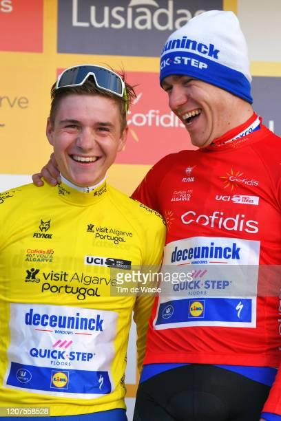 Podium / Remco Evenepoel of Belgium and Team Deceuninck - Quick Step Yellow Leader Jersey / Fabio Jakobsen of The Netherlands and Team Deceuninck -...