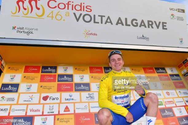 Podium / Remco Evenepoel of Belgium and Team Deceuninck Quick Step Yellow Leader Jersey / Celebration / during the 46th Volta ao Algarve 2020 Stage 2...