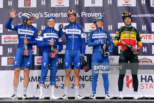 Podium / Remco Evenepoel of Belgium and Team Deceuninck - Quick-Step / Alvaro Jose Hodeg Chagui of Colombia and Team Deceuninck - Quick-Step / Yves...