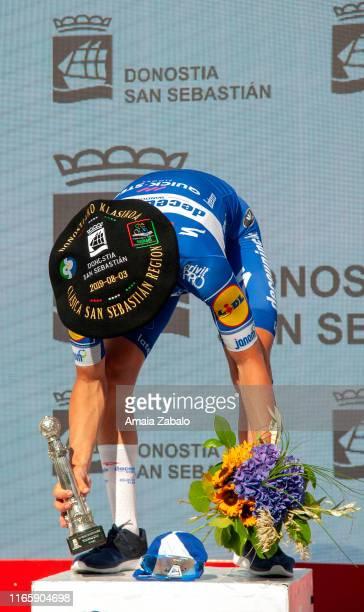 Podium / Remco Evenepoel of Belgium and Team Deceuninck-QuickStep / Celebration / Txapela Trophy / during the 39th Clásica Ciclista San Sebastián...
