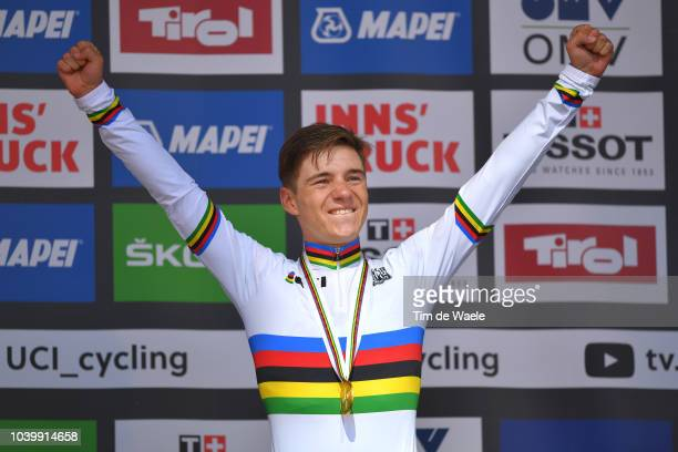 Podium / Remco Evenepoel of Belgium Gold Medal / Celebration / during the Men Juniors Individual Time Trial a 27,8km race from Wattens to Innsbruck...