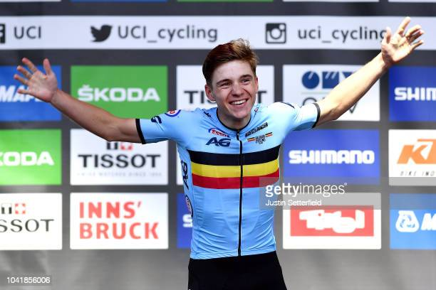 Podium / Remco Evenepoel of Belgium Gold Medal / Celebration / during the Men Juniors Road Race a 132,4km race from Kufstein to Innsbruck 582m at the...