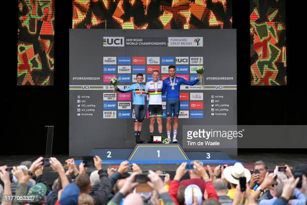 Podium / Remco Evenepoel of Belgium Silver medal / Rohan Dennis of Australia Gold medal / Filippo Ganna of Italy Bronze medal / Celebration / Public...