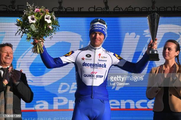 Podium / Remi Cavagna of France and Team Deceuninck - Quick Step Most Combative Rider / Celebration / Trophy / during the 5th Tour de La Provence...