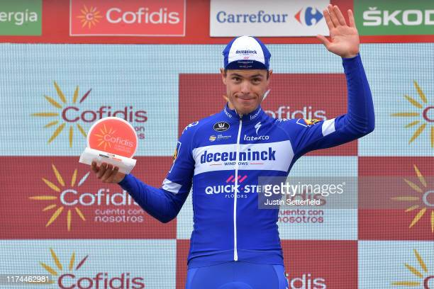 Podium / Remi Cavagna of France and Team DeceuninckQuickStep / Celebration / Trophy / during the 74th Tour of Spain 2019 Stage 19 a 1652km stage from...