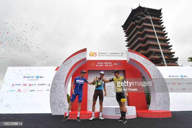 Podium / Remi Cavagna of France and Team QuickStep Floors / Silvan Dillier of Switzerland and Team Ag2R La Mondiale / Dylan Groenewegen of The...