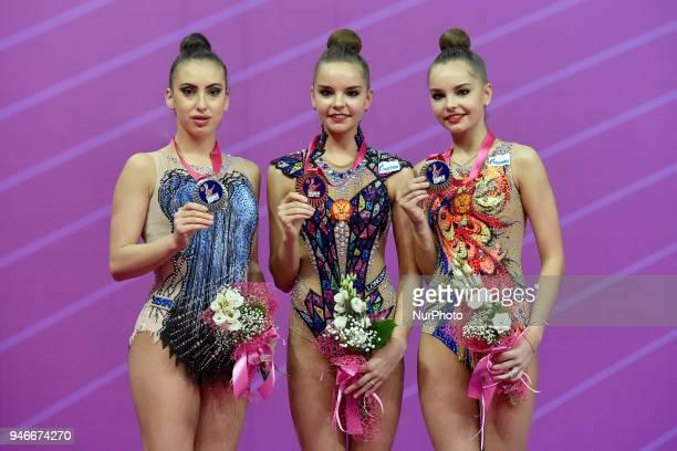 1Dina Averina 2Katrin Taseva 3 Arina Averina during the FIG 2018 Rhythmic Gymnastics World Cup at Adriatic Arena on 15 April 2018 in Pesaro Italy
