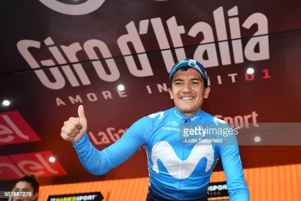 Podium / Richard Carapaz of Ecuador and Movistar Team / Celebration / during the 101th Tour of Italy 2018, Stage 8 a 209km stage from Praia a Mare to...