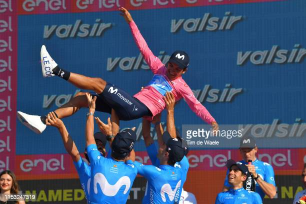 Podium / Richard Carapaz of Ecuador and Movistar Team Pink Leader Jersey / Mikel Landa Meana of Spain and Movistar Team / Jasha Sütterlin of Germany...