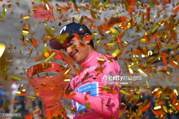 Podium / Richard Carapaz of Ecuador and Movistar Team Pink Leader Jersey / Celebration / Trophy / Trofeo Senza Fine / during the 102nd Giro d'Italia...