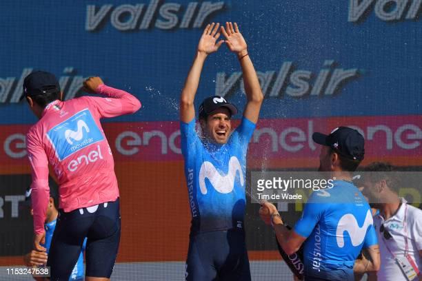 Podium / Richard Carapaz of Ecuador and Movistar Team Pink Leader Jersey / Mikel Landa Meana of Spain and Movistar Team / Jose Joaquin Rojas Gil of...
