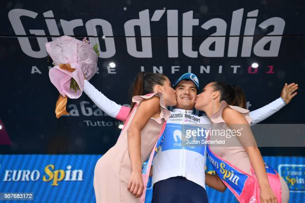Podium / Richard Carapaz of Ecuador and Movistar Team White Best Young Rider Jersey / Celebration / during the 101th Tour of Italy 2018, Stage 8 a...