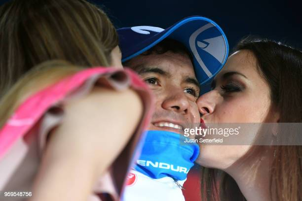 Podium / Richard Carapaz of Ecuador and Movistar Team White Best Young Rider Jersey / Celebration /during the 101st Tour of Italy 2018, Stage 12 a...