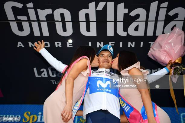 Podium / Richard Carapaz of Ecuador and Movistar Team White Best Young Rider Jersey / Celebration / during the 101st Tour of Italy 2018, Stage 13 a...