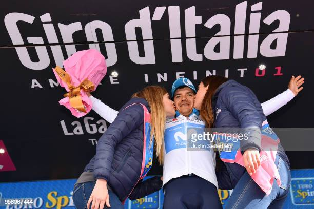 ITALIA CAMPO IMPERATORE ITALY MAY 13 Podium / Richard Carapaz of Ecuador and Movistar Team White Young Jersey / Celebration / during the 101th Tour...