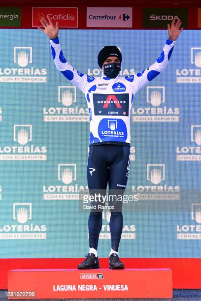 Podium / Richard Carapaz of Ecuador and Team INEOS Grenadiers Polka Dot Mountain Jersey / Celebration / during the 75th Tour of Spain 2020 Stage 3 a...
