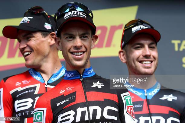 Podium / Richie Porte of Australia and BMC Racing Team / Celebration / during Stage three of the 105th Tour de France 2018, a 35,5km Team time trial...