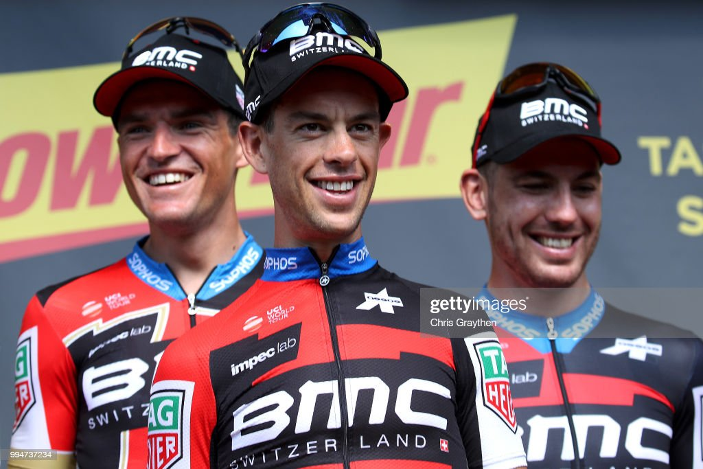 Podium / Richie Porte of Australia and BMC Racing Team / Celebration / during Stage three of the 105th Tour de France 2018, a 35,5km Team time trial stage / TTT / from Cholet to Cholet / TDF / on July 9, 2018 in Cholet, France.