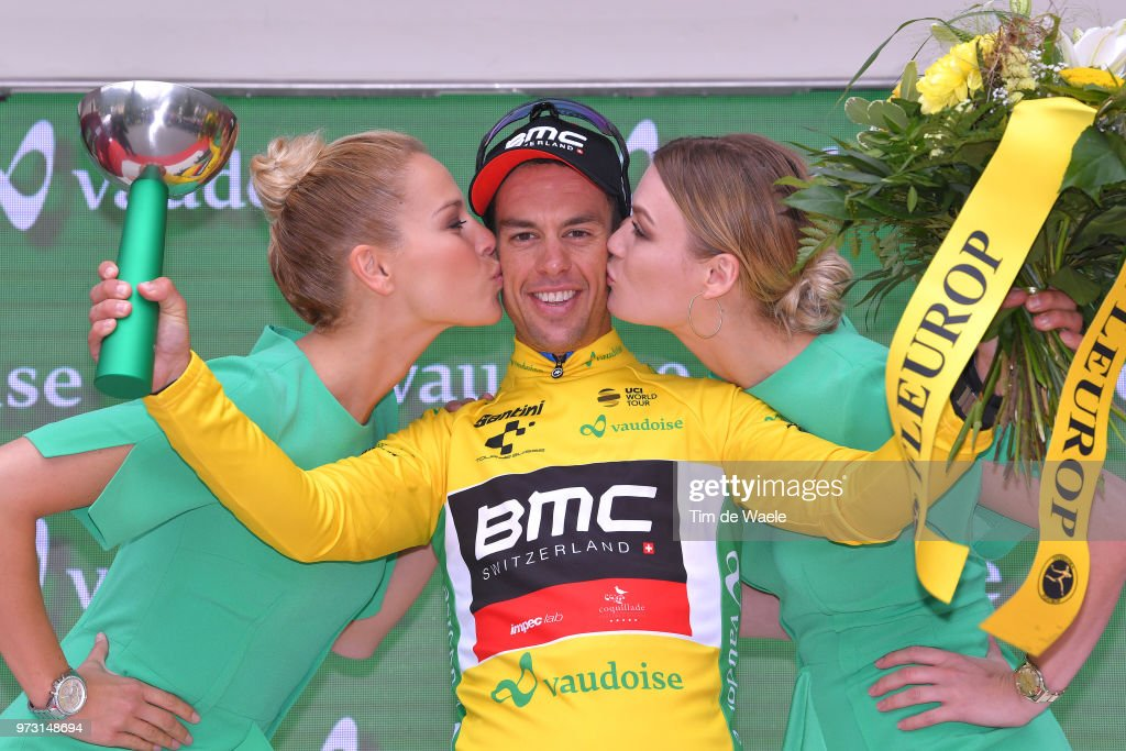 Podium / Richie Porte of Australia and BMC Racing Team Yellow Leader Jersey / Celebration / Trophy / during the 82nd Tour of Switzerland 2018, Stage 5 a 155,7km stage from Gstaad to Leukerbad 1385m on June 13, 2018 in Leukerbad, Switzerland.