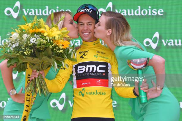 Podium / Richie Porte of Australia and BMC Racing Team Yellow Leader Jersey / Celebration / Trophy / during the 82nd Tour of Switzerland 2018, Stage...