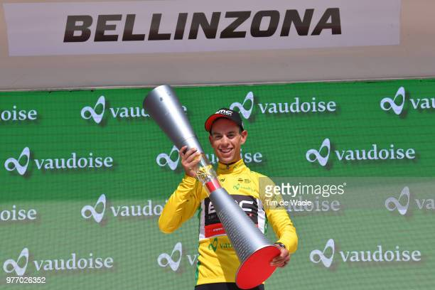Podium / Richie Porte of Australia and BMC Racing Team Yellow Leader Jersey / Celebration / Trophy / during the 82nd Tour of Switzerland 2018 Stage 9...