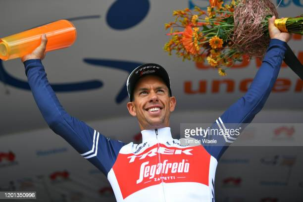 Podium / Richie Porte of Australia and Team Trek-Segafredo / Celebration / Trophy / Flowers / during the 22nd Santos Tour Down Under 2020, Stage 3 a...