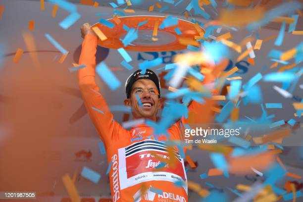 Podium / Richie Porte of Australia and Team Trek-Segafredo Orange Leader Jersey / Celebration / Trophy / during the 22nd Santos Tour Down Under 2020,...