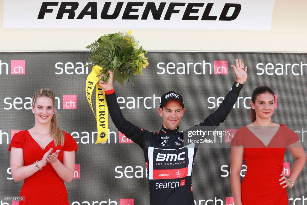 Podium / Richie Porte of Australia Black Points Jersey / Celebration / during the 82nd Tour of Switzerland 2018, Stage 1 a 18,3km Team time trial stage from Frauenfeld to Frauenfeld on June 9, 2018 in Frauenfeld, Switzerland.