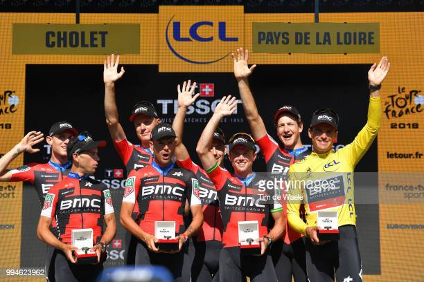 Podium / Richie Porte of Australia / Patrick Bevin of New Zealand / Damiano Caruso of Italy / Simon Gerrans of Australia / Stefan Kung of Switzerland...