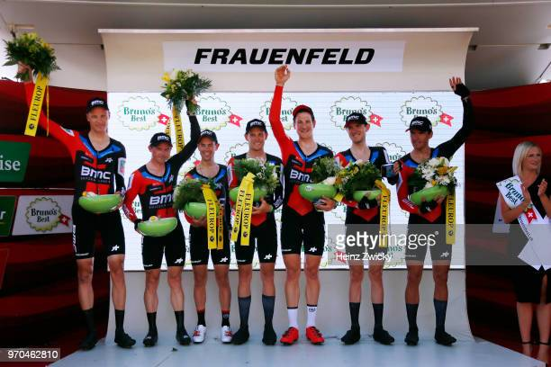 Podium / Richie Porte of Australia / Simon Gerrans of Australia / Stefan Kung of Switzerlan / Alessandro De Marchi of Italy / Michael Schar of...