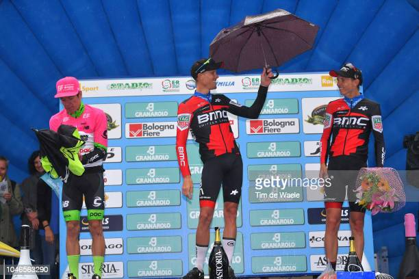 Podium / Rigoberto Uran of Colombia and Team EF Education First - Drapac P/B Cannondale / Alessandro De Marchi of Italy and BMC Racing Team / Dylan...