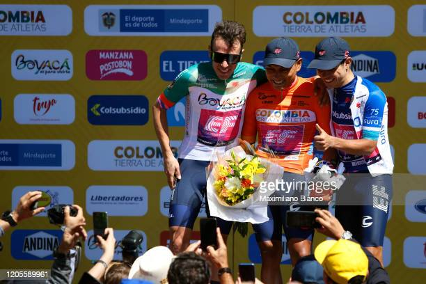 Podium / Rigoberto Urán of Colombia and Team EF Pro Cycling Green Stage Winner Jersey / Jonathan Klever Caicedo of Ecuador and Team EF Pro Cycling...
