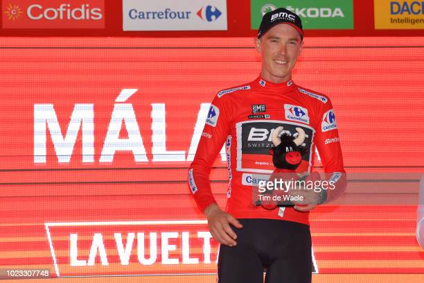 Podium / Rohan Dennis of Australia and BMC Racing Team Red Leader Jersey / Celebration / Bull Mascot / during the 73rd Tour of Spain 2018, Stage 1 a...