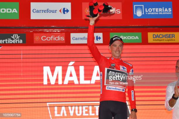 Podium / Rohan Dennis of Australia and BMC Racing Team Red Leader Jersey / Celebration / Bull Mascot / during the 73rd Tour of Spain 2018 Stage 1 a...