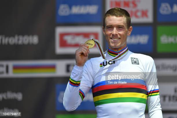 Podium / Rohan Dennis of Australia Gold Medal / Celebration / during the Men Elite Individual Time Trial a 52,5km race from Rattenberg to Innsbruck...