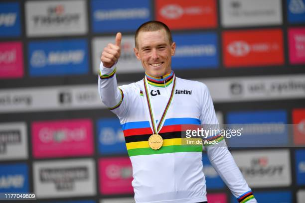 Podium / Rohan Dennis of Australia Gold medal / Celebration / during the 92nd UCI Road World Championships 2019, Individual Time Trial Men Elite a...