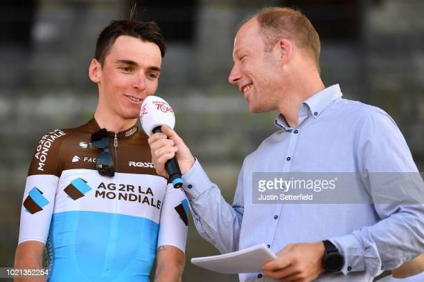 Podium / Romain Bardet of France and Team AG2R La Mondiale / during the 33rd Deutschland Tour 2018, Team Presentation / Deine Tour / on August 22,...