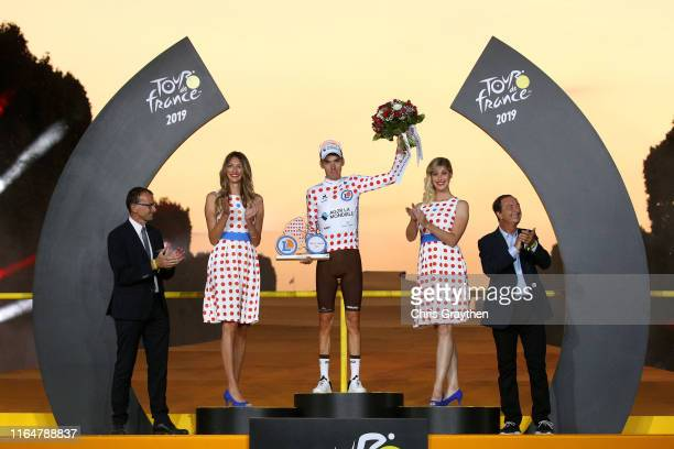 Podium / Romain Bardet of France and Team AG2R La Mondiale Polka Dot Mountain Jersey / Celebration / Michel Callot of France President of the French...