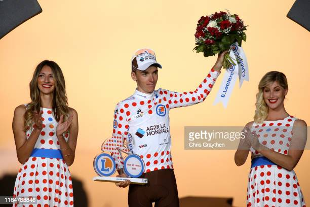 Podium / Romain Bardet of France and Team AG2R La Mondiale Polka Dot Mountain Jersey / Celebration / Miss / Hostess / Trophy / during the 106th Tour...