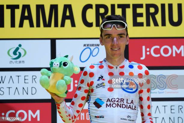 Podium / Romain Bardet of France and Team AG2R La Mondiale Polka Dot Mountain Jersey / Best Climber Celebration / during the 7th Tour de France...