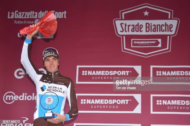 Podium / Romain Bardet of France / Celebration / Eroica / Siena Siena on March 3 2018 in Siena Italy
