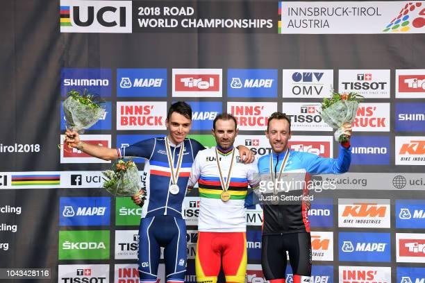 Podium / Romain Bardet of France Silver Medal / Alejandro Valverde of Spain Gold Medal / Michael Woods of Canada Bronze Medal / Celebration / during...