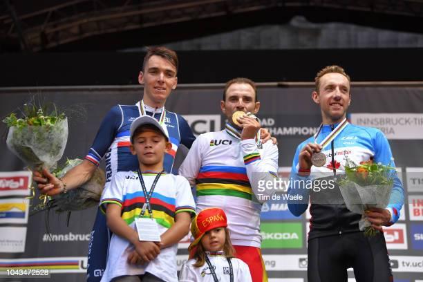Podium / Romain Bardet of France Silver Medal / Alejandro Valverde of Spain Gold Medal , Natalia Valverde of Spain daughter, Pablo Valverde of Spain...