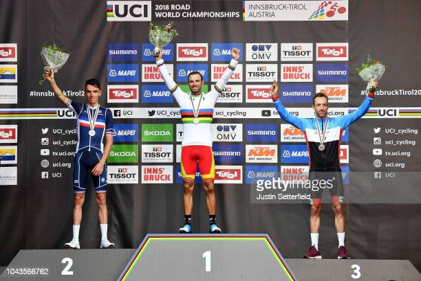 Podium / Romain Bardet of France Silver Medal / Alejandro Valverde of Spain Gold Medal / Michael Woods of Canada Bronze Medal / Celebration / during...