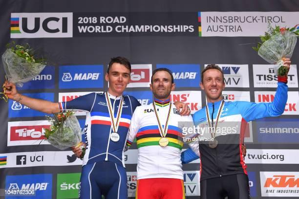 Podium / Romain Bardet of France Silver Medal / Alejandro Valverde of Spain Gold Medal / Michael Woods of Canada Bronze Medal / Celebration /during...