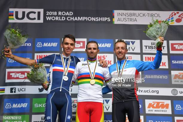 Podium / Romain Bardet of France Silver Medal / Alejandro Valverde of Spain Gold Medal / Michael Woods of Canada Bronze Medal / Celebration /during...