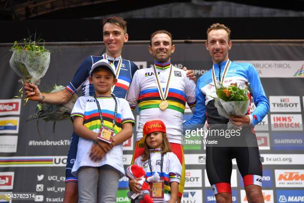 Podium / Romain Bardet of France Silver Medal / Alejandro Valverde of Spain Gold Medal , Natalia Valverde of Spain daughter, Pablo Valverde of Spain...