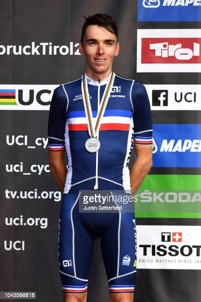 Podium / Romain Bardet of France Silver Medal / Celebration / during the Men Elite Road Race a 258,5km race from Kufstein to Innsbruck 582m at the...